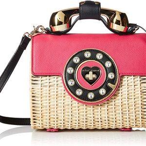 Betsey Johnson Wicker Phone Bag